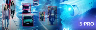 AI camera capturing images of people, cars and motorbikes